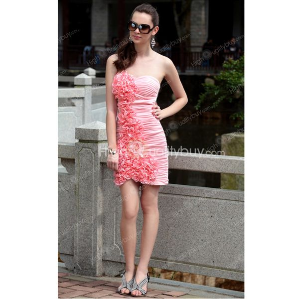 Pink Sheath Column Appliques Pleated Sweetheart Short Mini Cocktail Dress $161.99