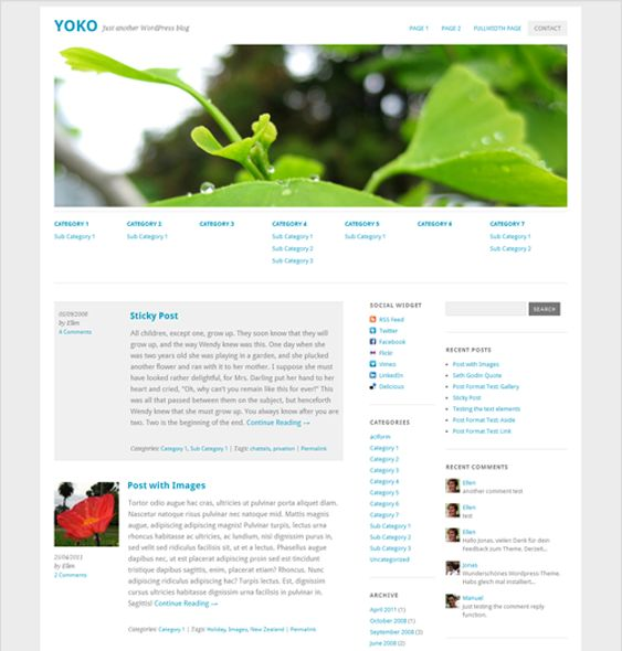 This free responsive WordPress theme boasts a custom social media widget, a simple design, and multiple post formats.