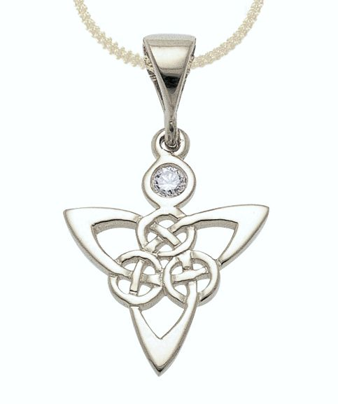 Our 18ct white gold traditional Celtic trinity knot work pendant with one .05ct diamond set.