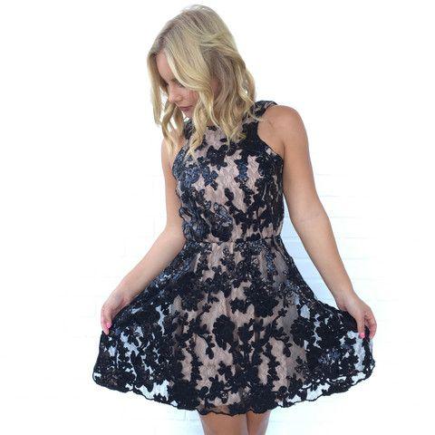 Black sequin babydoll dress