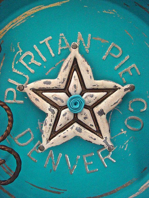 Rustic Shabby Western Star Magnet Hand Sculpted by OldeKettleLane
