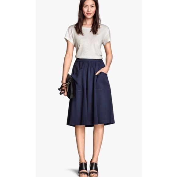 h&m • knee length skirt navy blue. front pocket. used once for few hours H&M Skirts A-Line or Full