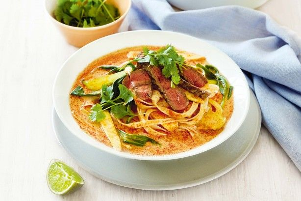 Warm up from the inside out with this fragant, Thai inspired beef and noodle soup.