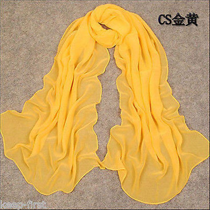 Yellow Women's Long Soft Chiffon Scarf Wrap Ladies Shawl Girls Large Scarves