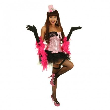 Womens Pink Sequins Burlesque Costume