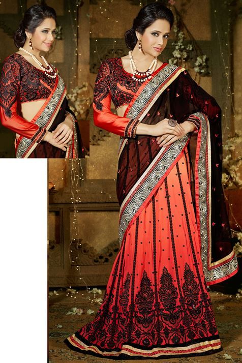 Shop this Black, Tomato Red Georgette Lehenga Saree @ FLAT 50% off. No coupon code required.