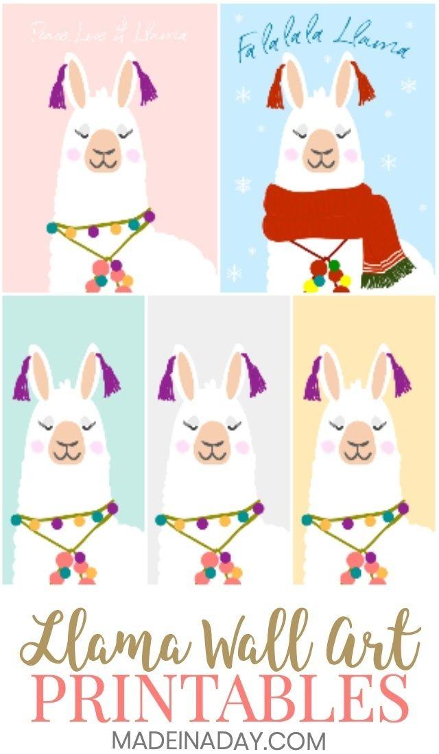National Llama Day Llama Printable Wall Art Free Printable Wall Art Llama Decor Handmade Wall Art