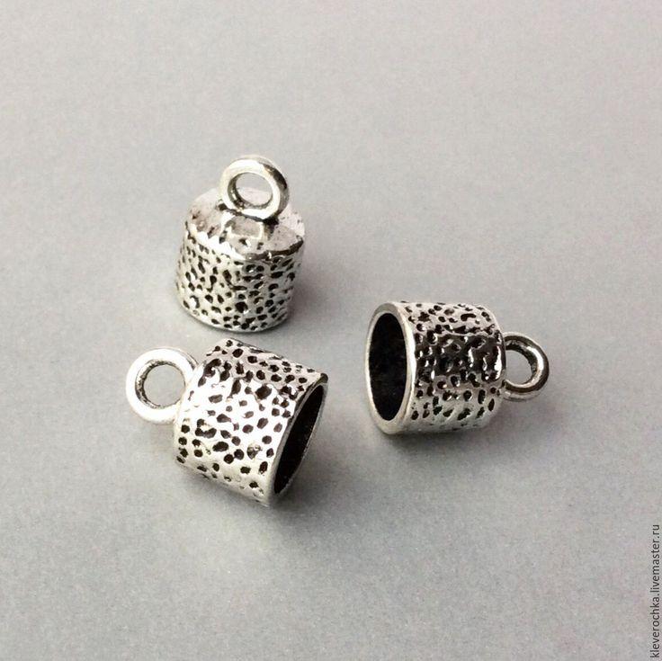 Купить Концевики 17 мм цвет серебро шапочки для украшений см.описание и фото
