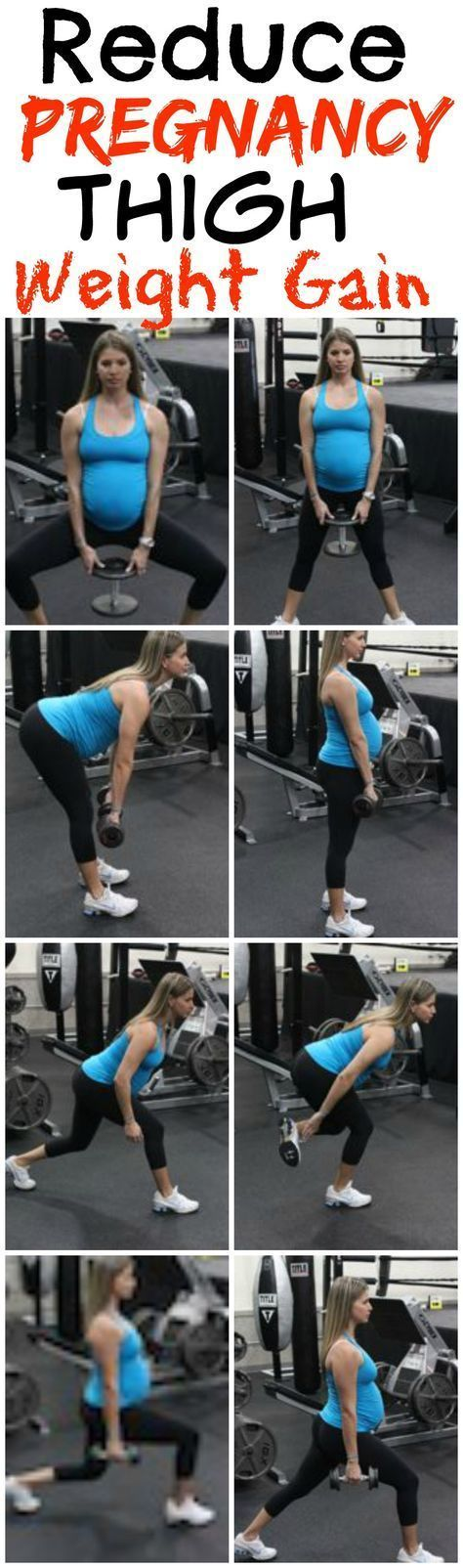 Reduce Thigh Weight Gain With This Pregnancy Workout. These exercises are safe and can be done from home. Lots of great pregnancy exercise tips and pregnancy diet tips to help have a healthy and fit pregnancy.    http://michellemariefit.com/reduce-thigh-weight-gain-with-this-pregnancy-workout/ #pregnancydiet