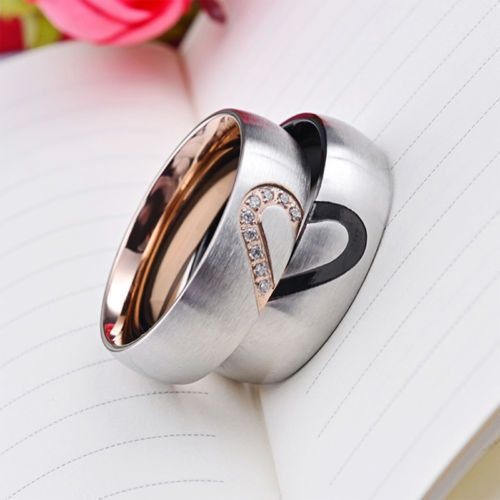 USA Couple Rings Forever Love Heart Brushed Titanium Steel Wedding Promise Band Instructions: choose size for men ring choose color for women ring Condition: 100% brand new and high quality Material: