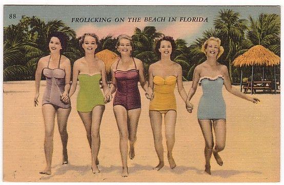 Girls on the BeachBeach Frolicking, Vintage Postcards, Girls Generation, Vintage Bath Suits, Bath Beautiful, Florida Postcards, Girls On Beach, Vintage Bathing Suits, Vintage Florida