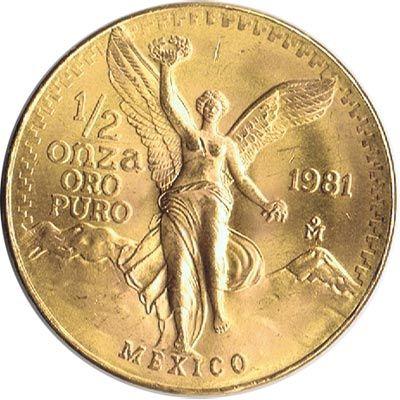 Moneda de oro 1/2 onza oro puro México 1981