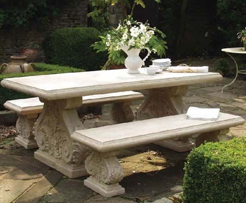 Stone Effect Table U0026 Benches Set