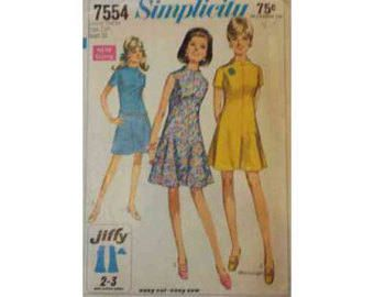 1960's Simplicity 7554 Dress Pattern Size Junior Petite 7JP by ThisOldPattern on Etsy