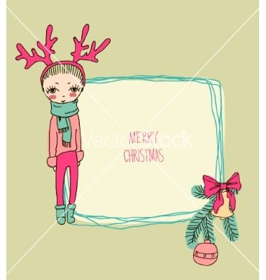 Cute christmas card in vector by mamziolzi on VectorStock®