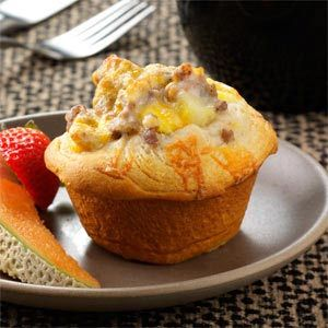 Breakfast Biscuit Cups Recipe from Taste of Home -- shared by Debra Carlson of Columbus Junction, Iowa