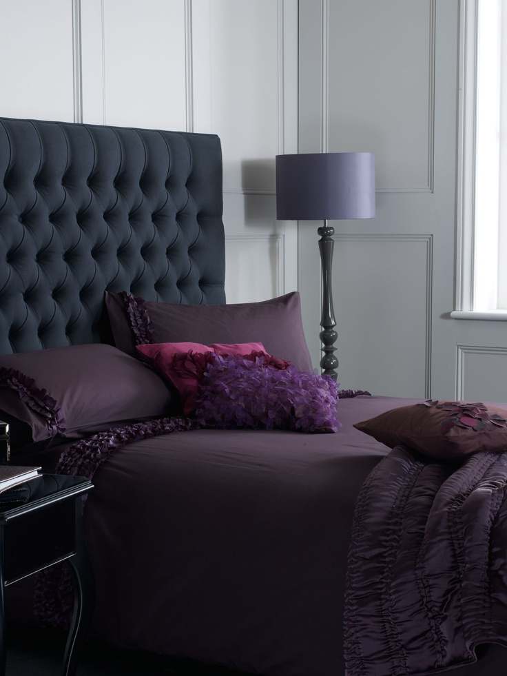 Best Grey Buttoned Headboard With Purple Bedding Home Bedroom 400 x 300
