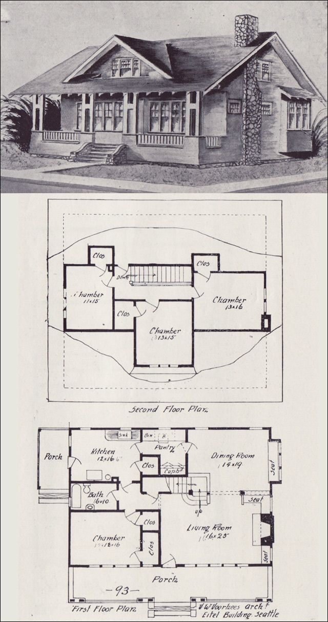 214 best vintage house plans 1900s images on pinterest for Bungalow floor plans historic