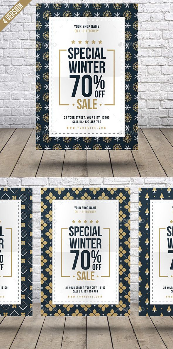 Winter Sale Flyer by RafiqFarzali This is sale flyer design can be used for a Fashion Sale Event, E-Commerce Sale & Free Shipping Promo & Sale Flyer.FeaturesSize A4