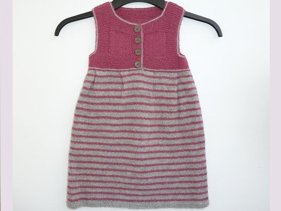 Hand knit baby girl dress alpaca pink and by iKnitForMomsAndKids, zł160.00