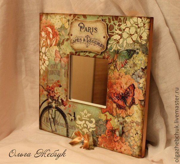 mirror frame decoupaged