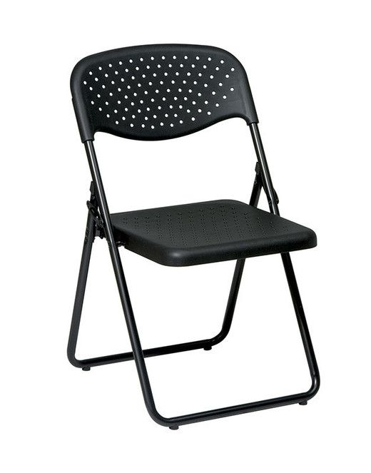 Office Star FC8000NP-3 Folding Chair with Black Plastic Seat and Back and Black Frame. (4 Pack)