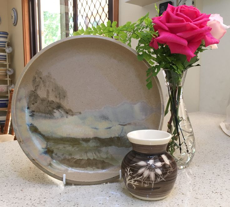 Etta Easton Flannel Flower Vase and Norwood Pottery from Wauchope Landscape Platter