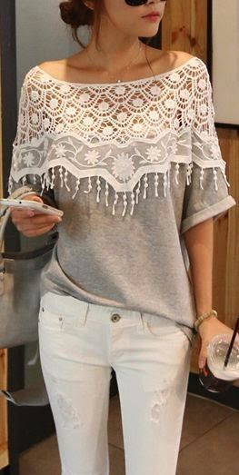Cute Gray Lace Top With White Pant