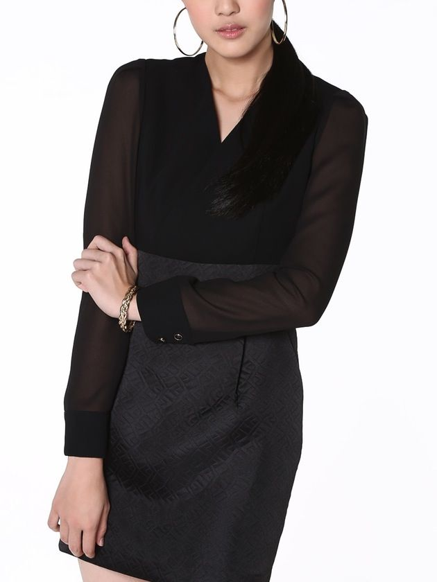 Image of Wrap Front Dress, Black