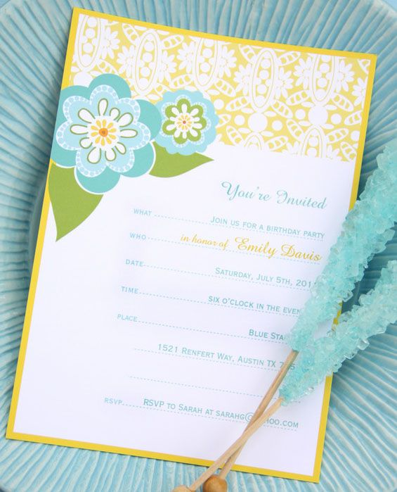 The 15 Best Free Printable Birthday Invitations: Retro Floral Invitation by Jayme Marie Gonzalez