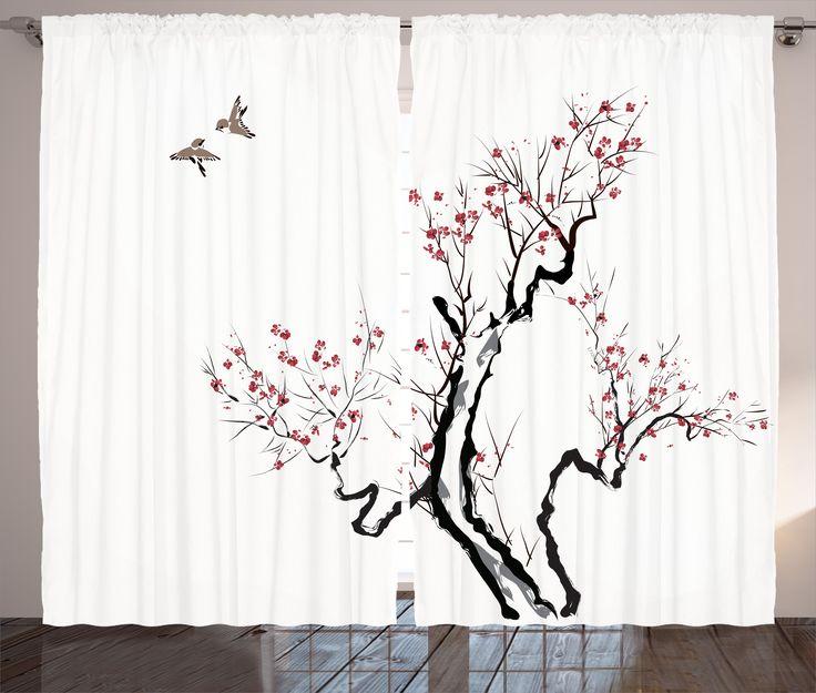 Japanese-Decor-Curtains-2-Panels-Set-Asian-Floral-Home-Decor