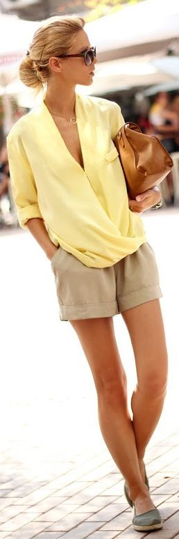 Yellow blouse top and beige short pants in a nice fabric! So glam and chic for the summer!