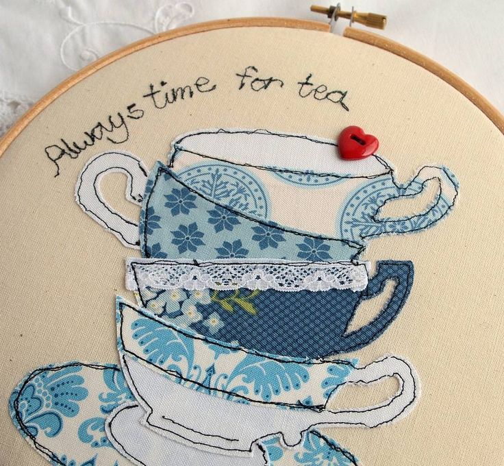 """Always Time for Tea"" Teacup Stack - Machine Applique Embroidery Hoop Artwork"