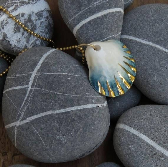 NaniByEttyVardi-New Collection 2018 Ceramic Necklace, Gift for Her, Personalized Gift, Gold dipped, Ceramic Jewelry, Beach Necklace, seashell Necklace #jewelry