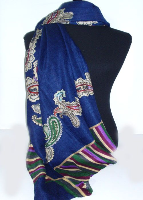 paisley pattern on two ends of a soft, warm scarf with a striped ending_fashion woman accessories.