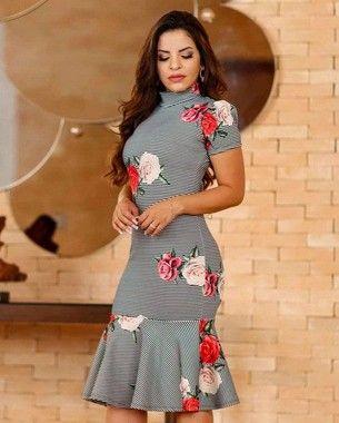69e05a6422 Vestido Tubinho Peplum Rosê - Moda Evangélica - Flor de Amêndoa