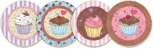 CounterArt Cupcakes and Sprinkles Absorbent Coasters, Assorted, Set of 4 by Counter Art. $14.27. Holders available; look for counterart wood coaster holds ( sold separately). Coasters are natural stoneware with decorative transfer print. Each coaster has a durable cork backing to protect countertops and furniture. To remove stains, soak coaster in 1 part household bleach and 3 parts water until stain lifts, then rinse and air dry. Set of 4 absorbent coasters with attract...