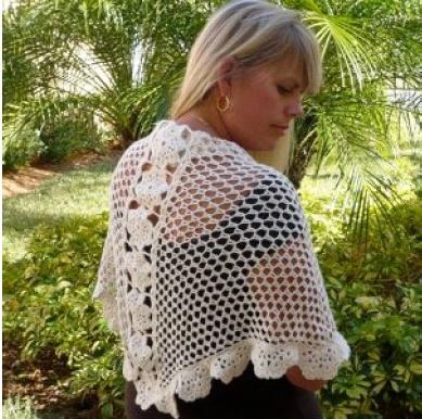 Elegant Crochet Flower Shawl  By: Kristin Omdahl