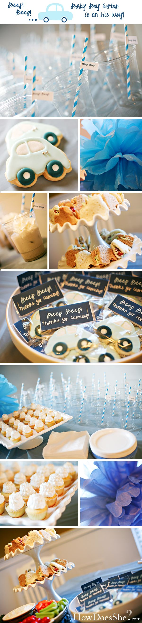 Cute decorations & favors for DIY inspiration. Blue, car-themed baby shower http://www.howdoesshe.com/beep-beep-car-themed-baby-shower-real-party