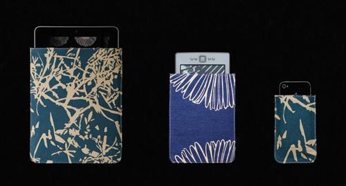 Etui tablette branchage, étui liseuse marguerite et etui smartphone branchage bleu
