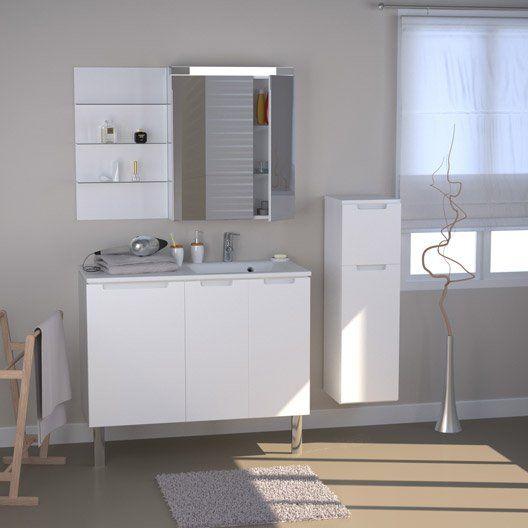 Meuble de salle de bains neo blanc salle de bain pinterest Sdb chocolat taupe