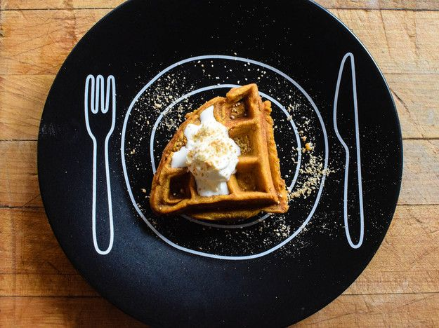 This is no pumpkin waffle—it's a nicely spiced, lightly sweet custard that cooks in the waffle iron in minutes.