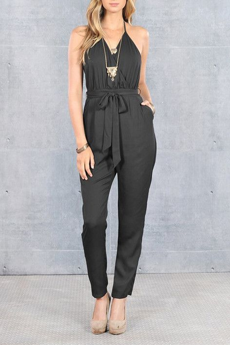 Halter Jumpsuit with zipper at the back and same fabric belt