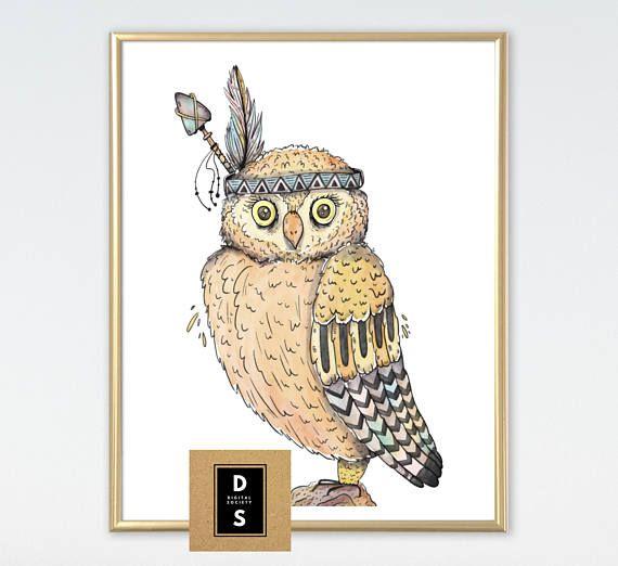 digital printable wall art nursery decor owl tribal