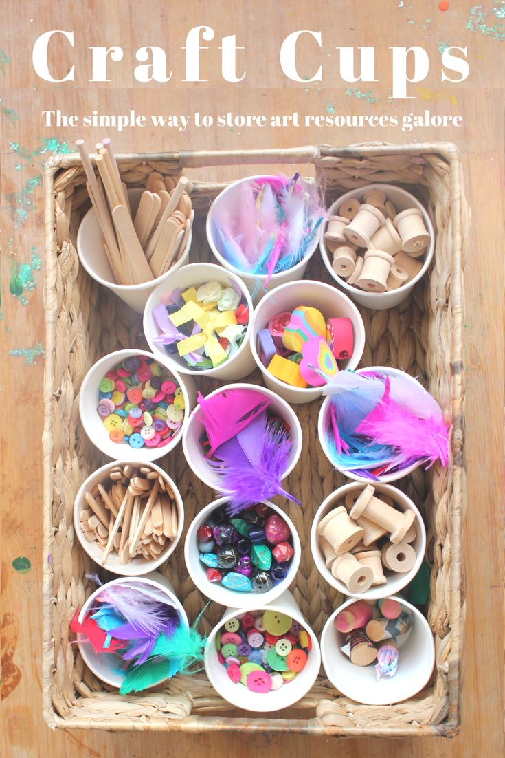 Art and craft can be messy but a simple storage system can make things much more user friendly. These paper cups are a great way to  distribute a small amount of resources per cup, allowing the children freedom to choose and create as they please. Just top the cups up when they're getting low!