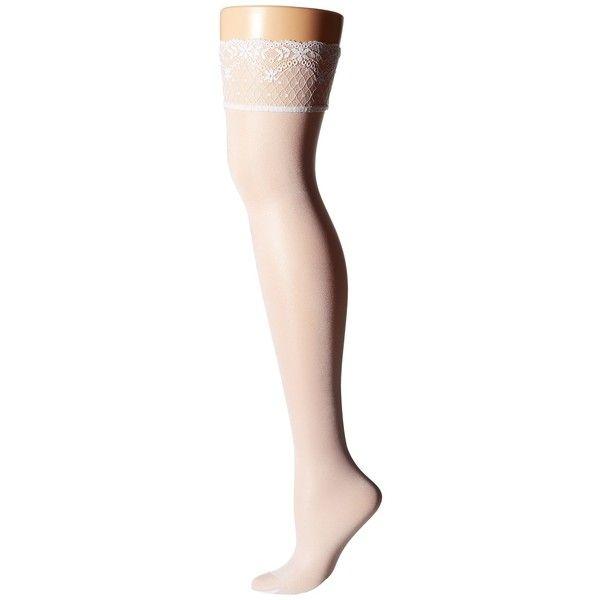 Falke Seidenglatt 15 Stocking Hose ($36) ❤ liked on Polyvore featuring intimates, hosiery, tights, lace tights, lace hosiery, transparent tights, falke pantyhose and falke tights