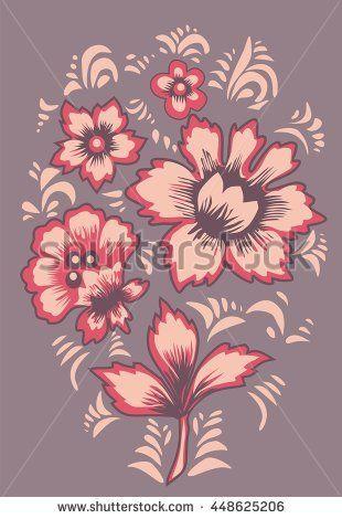 Russian folk art Khokhloma Card exotic flowers. Original wedding invitation. Ethnic background Fabulous floral pattern Vector illustration March 8 Vector illustration Floral background Flowers pattern