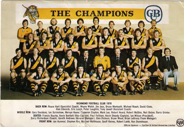 Richmond Football Club team photo 1978.