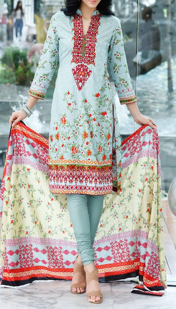 Buy Sky Blue Embroidered Cotton Lawn Dress by Mahnoor 2016