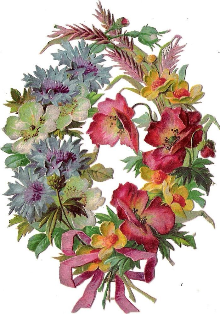 Oblaten Glanzbild scrap die cut chromo Mohn Blumen Kranz 14,2 cm poppy  wreath